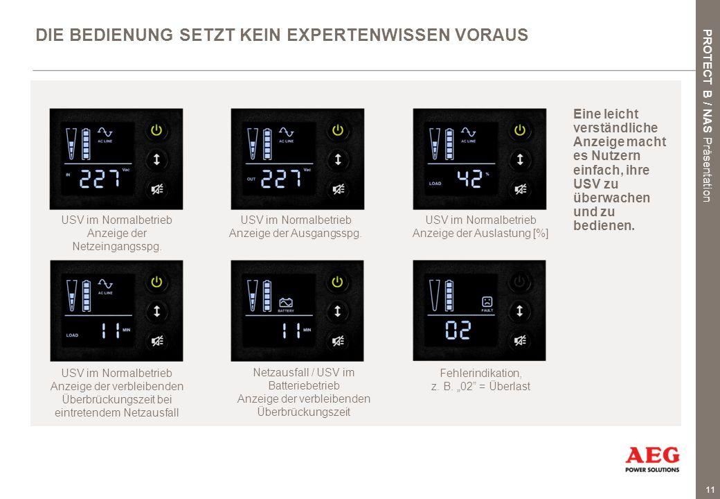 """11 DIE BEDIENUNG SETZT KEIN EXPERTENWISSEN VORAUS Fehlerindikation, z. B. """"02"""" = Überlast Netzausfall / USV im Batteriebetrieb Anzeige der verbleibend"""
