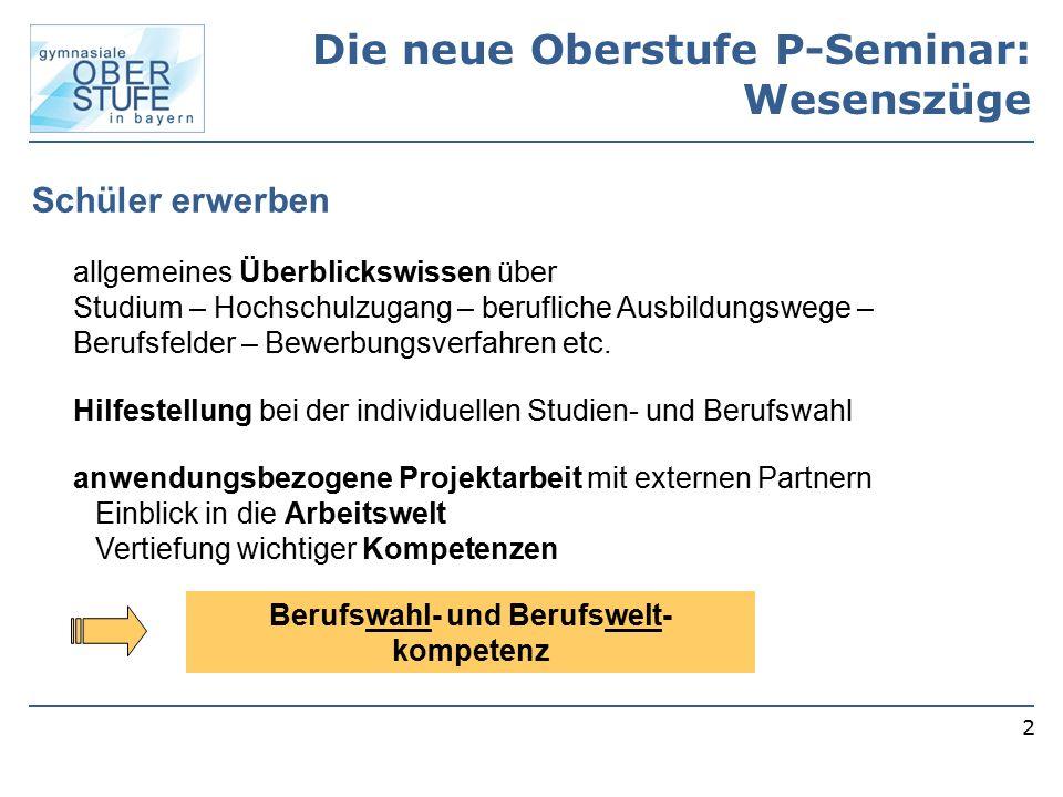 2 Die neue Oberstufe P-Seminar: Wesenszüge allgemeines Überblickswissen über Studium – Hochschulzugang – berufliche Ausbildungswege – Berufsfelder – B