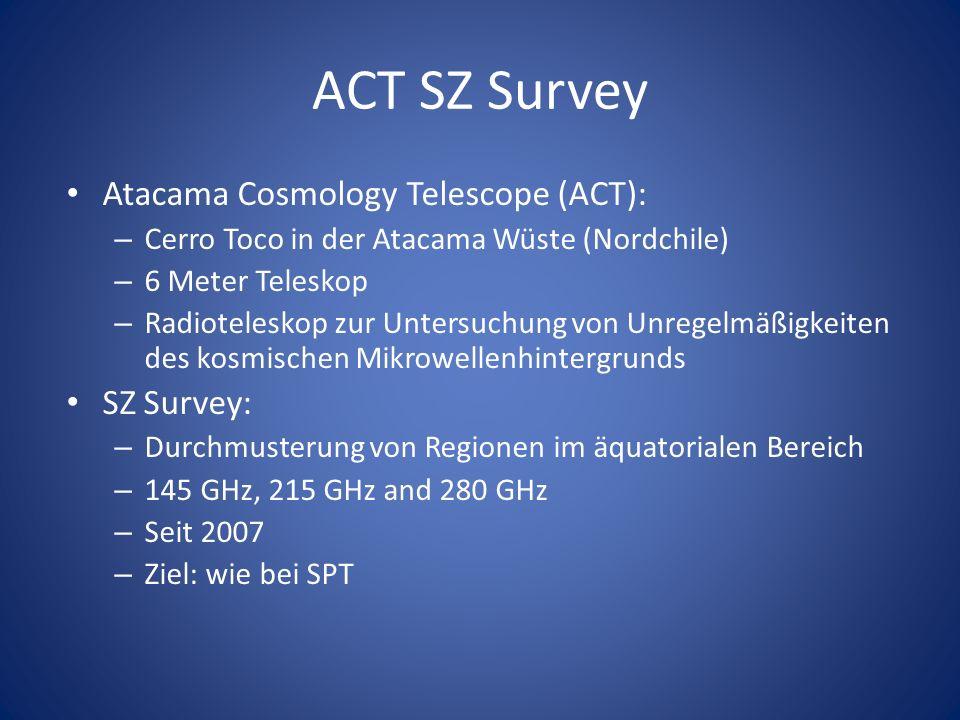 ACT SZ Survey Atacama Cosmology Telescope (ACT): – Cerro Toco in der Atacama Wüste (Nordchile) – 6 Meter Teleskop – Radioteleskop zur Untersuchung von Unregelmäßigkeiten des kosmischen Mikrowellenhintergrunds SZ Survey: – Durchmusterung von Regionen im äquatorialen Bereich – 145 GHz, 215 GHz and 280 GHz – Seit 2007 – Ziel: wie bei SPT