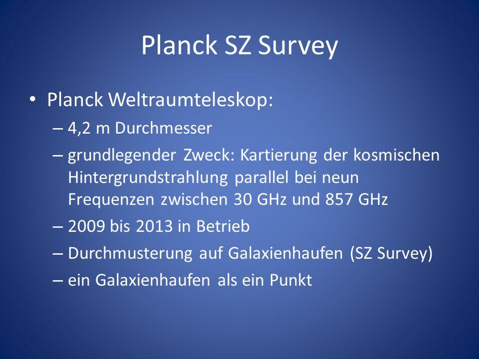 Planck SZ Survey Planck Weltraumteleskop: – 4,2 m Durchmesser – grundlegender Zweck: Kartierung der kosmischen Hintergrundstrahlung parallel bei neun Frequenzen zwischen 30 GHz und 857 GHz – 2009 bis 2013 in Betrieb – Durchmusterung auf Galaxienhaufen (SZ Survey) – ein Galaxienhaufen als ein Punkt