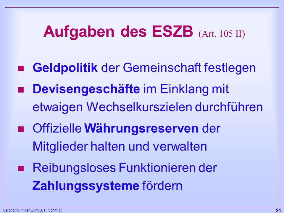 Geldpolitik in der EWWU, P. Schmidt 21 Aufgaben des ESZB (Art. 105 II) n Geldpolitik der Gemeinschaft festlegen n Devisengeschäfte im Einklang mit etw