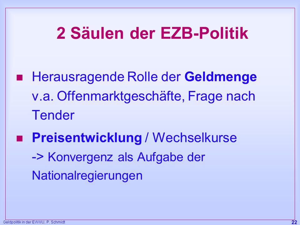 Geldpolitik in der EWWU, P. Schmidt 22 2 Säulen der EZB-Politik n Herausragende Rolle der Geldmenge v.a. Offenmarktgeschäfte, Frage nach Tender n Prei