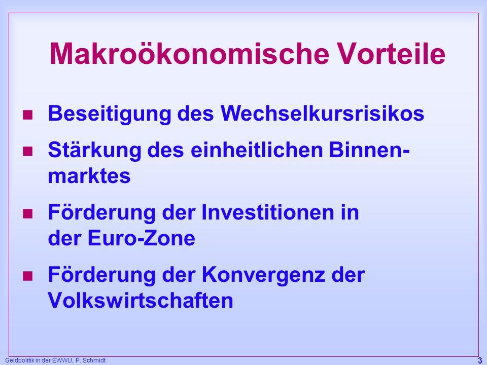 Geldpolitik in der EWWU, P. Schmidt 3 Makroökonomische Vorteile n Beseitigung des Wechselkursrisikos n Stärkung des einheitlichen Binnen- marktes n Fö