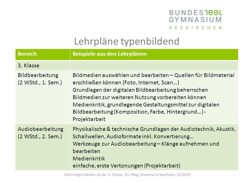 Lehrpläne typenbildend BereichBeispiele aus den Lehrplänen 3.