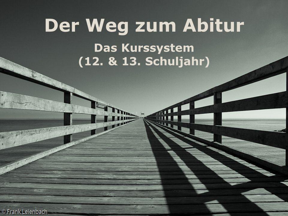 Der Weg zum Abitur Das Kurssystem (12. & 13. Schuljahr)