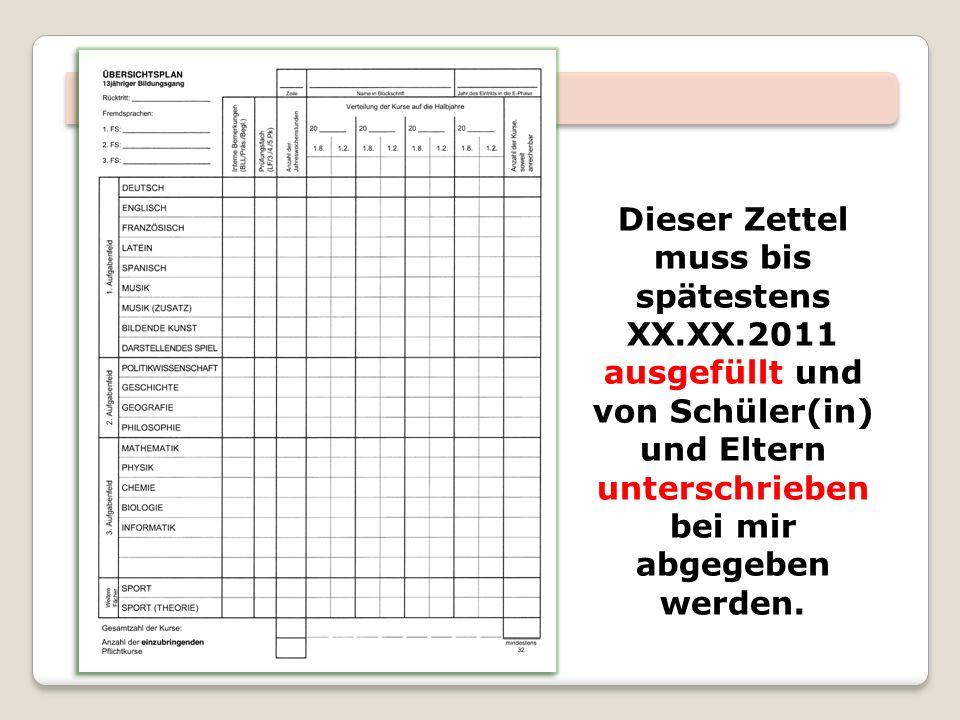 Dieser Zettel muss bis spätestens XX.XX.2011 ausgefüllt und von Schüler(in) und Eltern unterschrieben bei mir abgegeben werden.