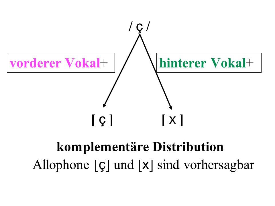 [ ç ] [ x ] komplementäre Distribution Allophone [ ç ] und [ x ] sind vorhersagbar vorderer Vokal+ ç hinterer Vokal+ x / ç /