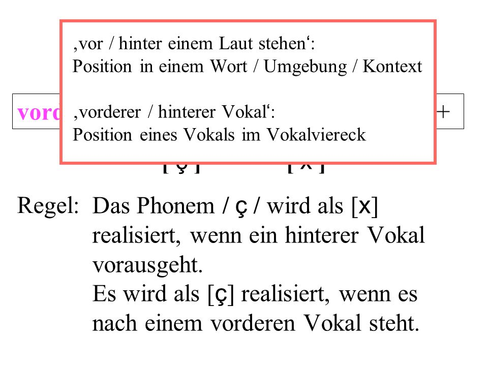 vorderer Vokal+ ç hinterer Vokal+ x [ ç ] [ x ] Regel:Das Phonem / ç / wird als [ x ] realisiert, wenn ein hinterer Vokal vorausgeht.