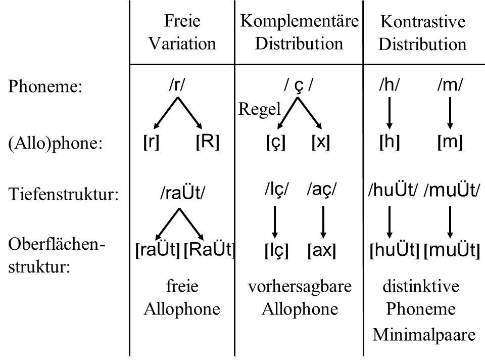 Freie Variation Komplementäre Distribution Kontrastive Distribution Phoneme: (Allo)phone: Tiefenstruktur: Oberflächen- struktur: / ç //r//r/ [r][r][R][R] / raÜt / [ raÜt ][ RaÜt ] [x][x][ç][ç] /h//h/ [h][h] /m//m/ [m][m] [ huÜt ] [ mu Üt ] / huÜt / / mu Üt / [ Iç ][ ax ] /Iç//Iç//aç//aç/ Minimalpaare freie Allophone vorhersagbare Allophone distinktive Phoneme Regel