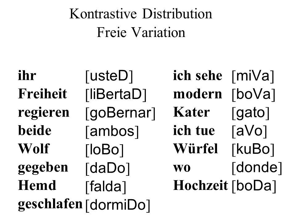 ihr [ usteD ] Freiheit [ liBertaD ] regieren [ goBernar ] beide [ ambos ] Wolf [ loBo ] gegeben [ daDo ] Hemd [ falda ] geschlafen [ dormiDo ] ich sehe [ miVa ] modern [ boVa ] Kater [ gato ] [ aVo ] ich tue Würfel [ kuBo ] wo [ donde ] Hochzeit [ boDa ] Kontrastive Distribution Freie Variation
