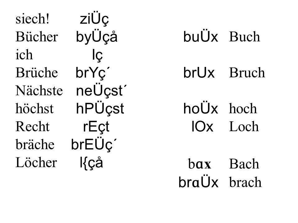 Regel:Das Phonem / ç / wird als [ x ] realsiert, wenn ein hinterer Vokal vorausgeht.