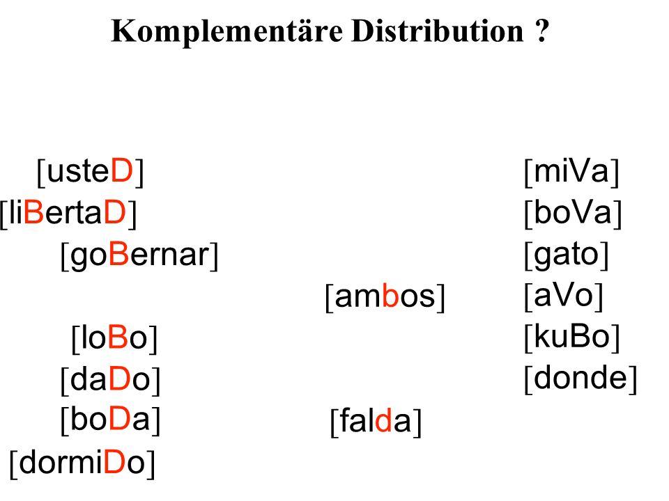 [ usteD ] [ liBertaD ] [ goBernar ] [ ambos ] [ loBo ] [ daDo ] [ falda ] [ dormiDo ] [ miVa ] [ boVa ] [ gato ] [ aVo ] [ kuBo ] [ donde ] [ boDa ] Komplementäre Distribution