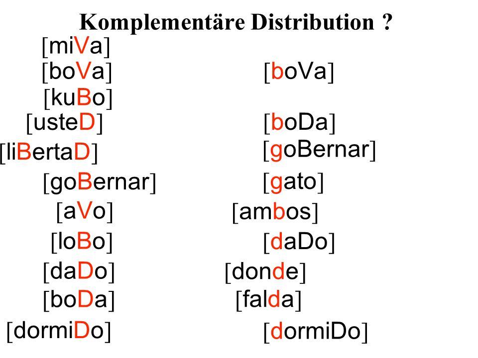 [ usteD ] [ liBertaD ] [ goBernar ] [ ambos ] [ loBo ] [ daDo ] [ falda ] [ dormiDo ] [ miVa ] [ boVa ] [ gato ] [aVo][aVo] [ kuBo ] [ donde ] [ boDa ] Komplementäre Distribution .