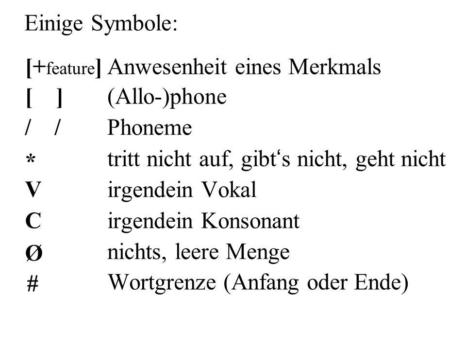 Einige Symbole: [ ](Allo-)phone * tritt nicht auf, gibt ' s nicht, geht nicht Virgendein Vokal Cirgendein Konsonant Ø nichts, leere Menge [+ feature ]Anwesenheit eines Merkmals / Phoneme # Wortgrenze (Anfang oder Ende)