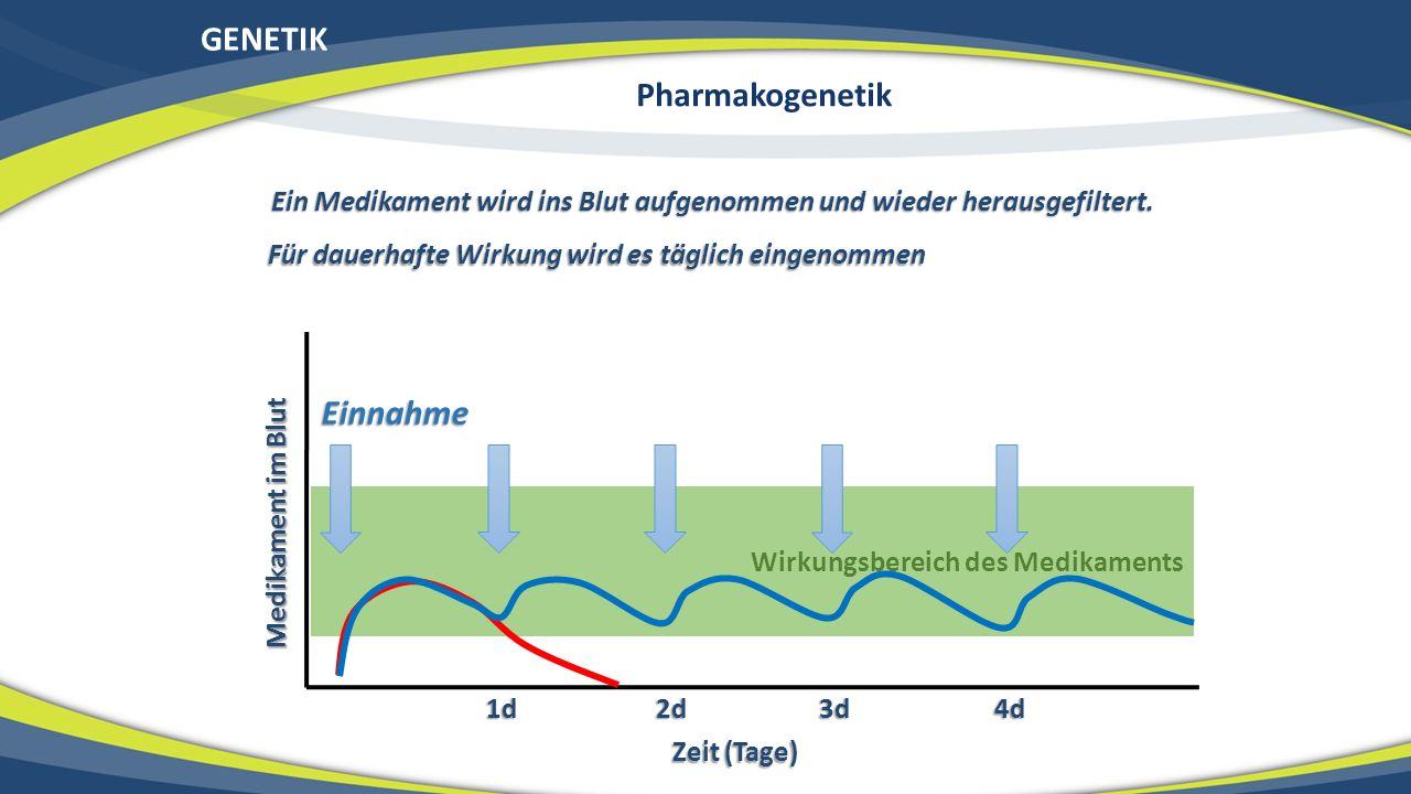 GENETIK Wirkungsbereich des Medikaments Medikament im Blut Zeit (Tage) 1d 2d 3d 4d Einnahme Ein Medikament wird ins Blut aufgenommen und wieder heraus