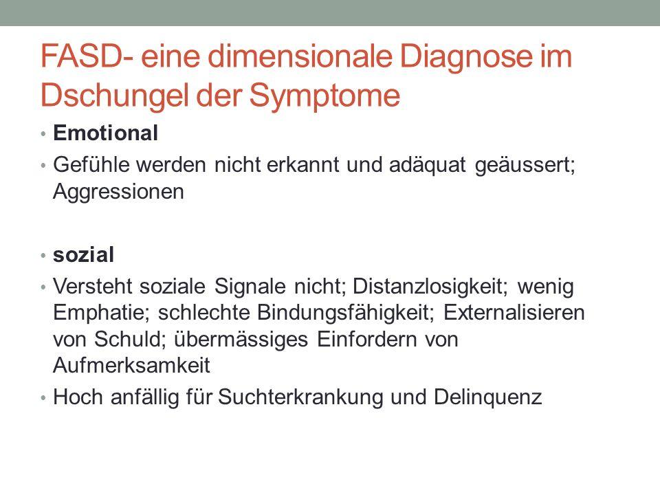 FASD- eine dimensionale Diagnose im Dschungel der Symptome Emotional Gefühle werden nicht erkannt und adäquat geäussert; Aggressionen sozial Versteht