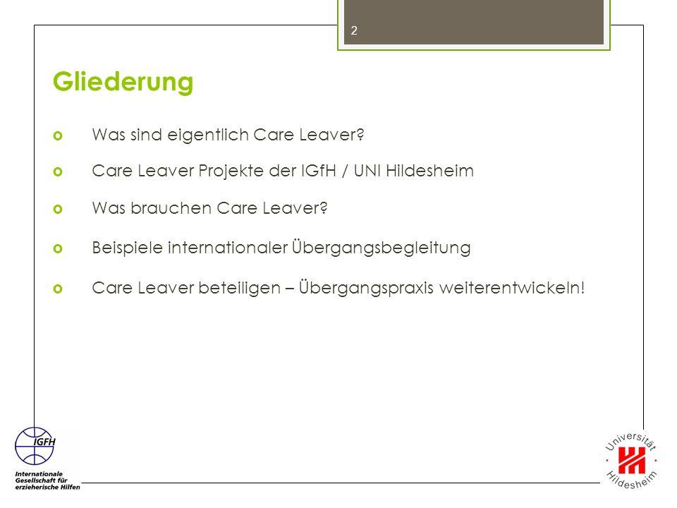 Gliederung  Was sind eigentlich Care Leaver?  Care Leaver Projekte der IGfH / UNI Hildesheim  Was brauchen Care Leaver?  Beispiele internationaler