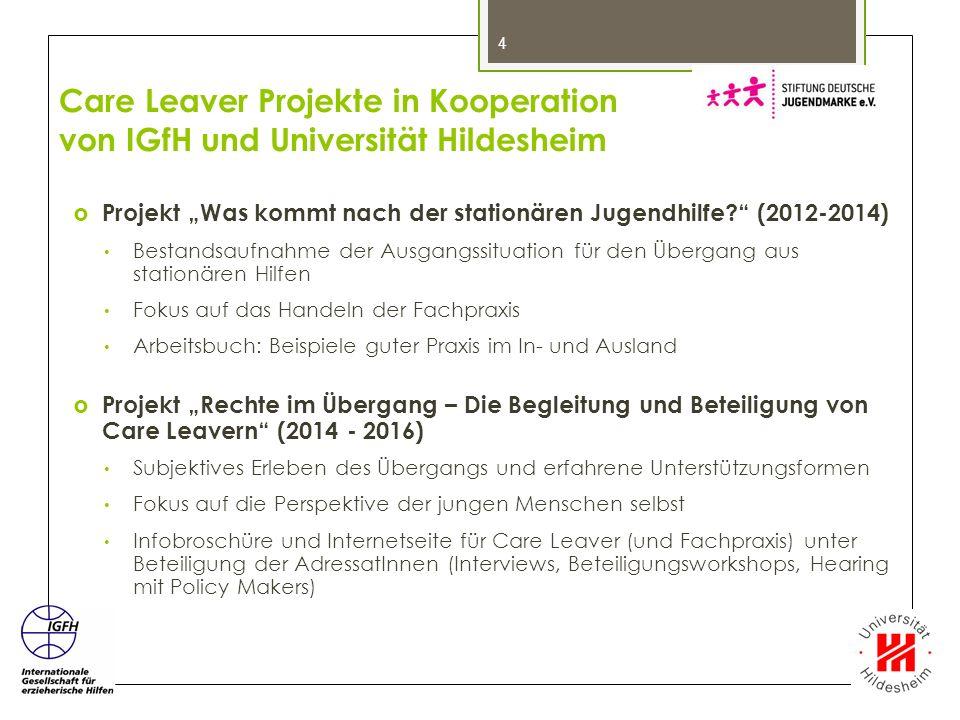 """Care Leaver Projekte in Kooperation von IGfH und Universität Hildesheim  Projekt """"Was kommt nach der stationären Jugendhilfe?"""" (2012-2014) Bestandsau"""