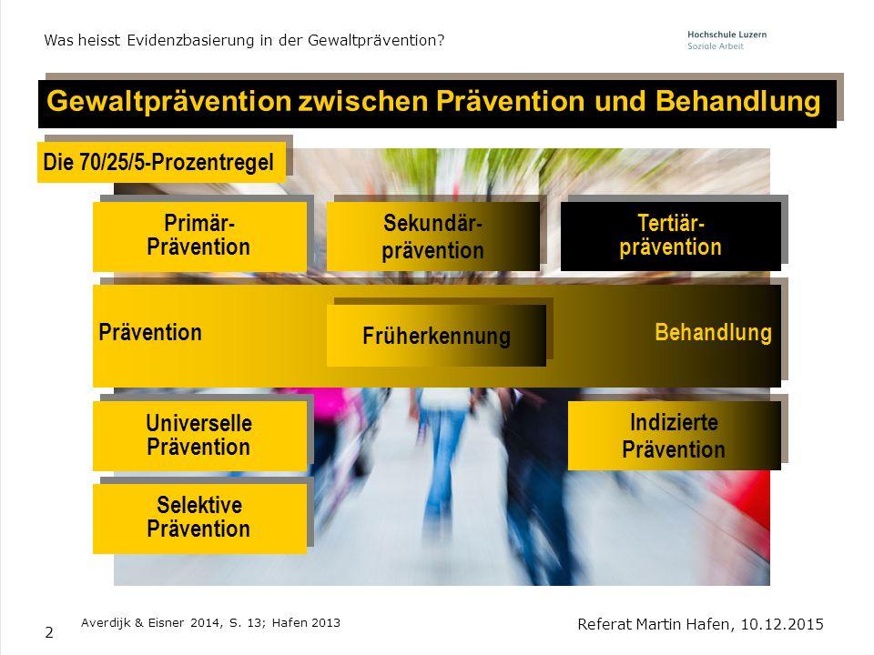 2 Gewaltprävention zwischen Prävention und Behandlung Referat Martin Hafen, 10.12.2015 Was heisst Evidenzbasierung in der Gewaltprävention? Averdijk &