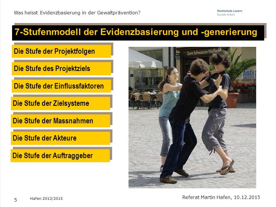 5 7-Stufenmodell der Evidenzbasierung und -generierung Referat Martin Hafen, 10.12.2015 Was heisst Evidenzbasierung in der Gewaltprävention? Die Stufe