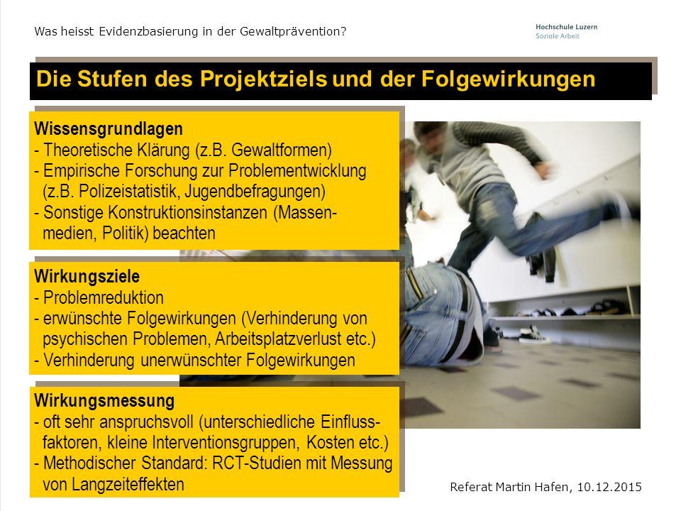 6 Die Stufen des Projektziels und der Folgewirkungen Referat Martin Hafen, 10.12.2015 Was heisst Evidenzbasierung in der Gewaltprävention? Wissensgrun