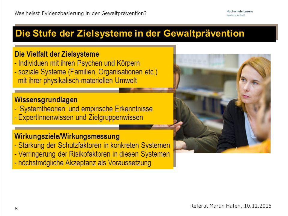 8 Die Stufe der Zielsysteme in der Gewaltprävention Referat Martin Hafen, 10.12.2015 Was heisst Evidenzbasierung in der Gewaltprävention? Wissensgrund