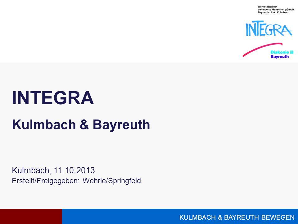 KULMBACH & BAYREUTH BEWEGEN INTEGRA Kulmbach & Bayreuth Kulmbach, 11.10.2013 Erstellt/Freigegeben: Wehrle/Springfeld
