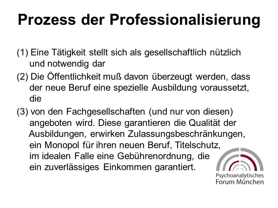 Prozess der Professionalisierung (1) Eine Tätigkeit stellt sich als gesellschaftlich nützlich und notwendig dar (2) Die Öffentlichkeit muß davon überzeugt werden, dass der neue Beruf eine spezielle Ausbildung voraussetzt, die (3) von den Fachgesellschaften (und nur von diesen) angeboten wird.