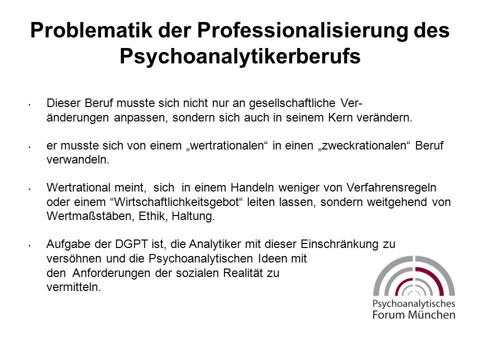 Problematik der Professionalisierung des Psychoanalytikerberufs Dieser Beruf musste sich nicht nur an gesellschaftliche Ver- änderungen anpassen, sondern sich auch in seinem Kern verändern.