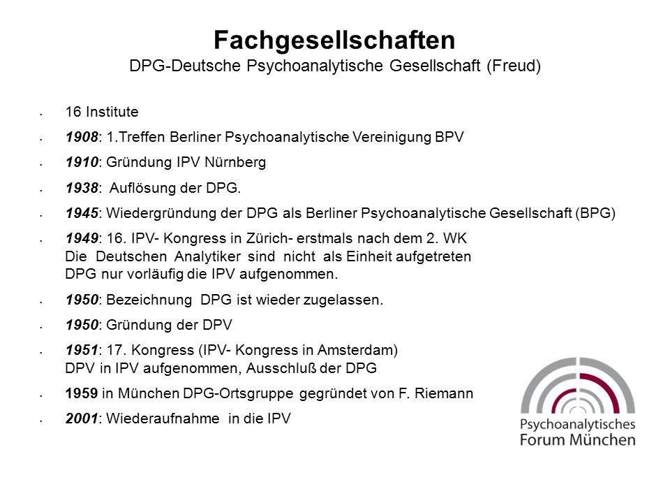 Fachgesellschaften DPG-Deutsche Psychoanalytische Gesellschaft (Freud) 16 Institute 1908: 1.Treffen Berliner Psychoanalytische Vereinigung BPV 1910: Gründung IPV Nürnberg 1938: Auflösung der DPG.