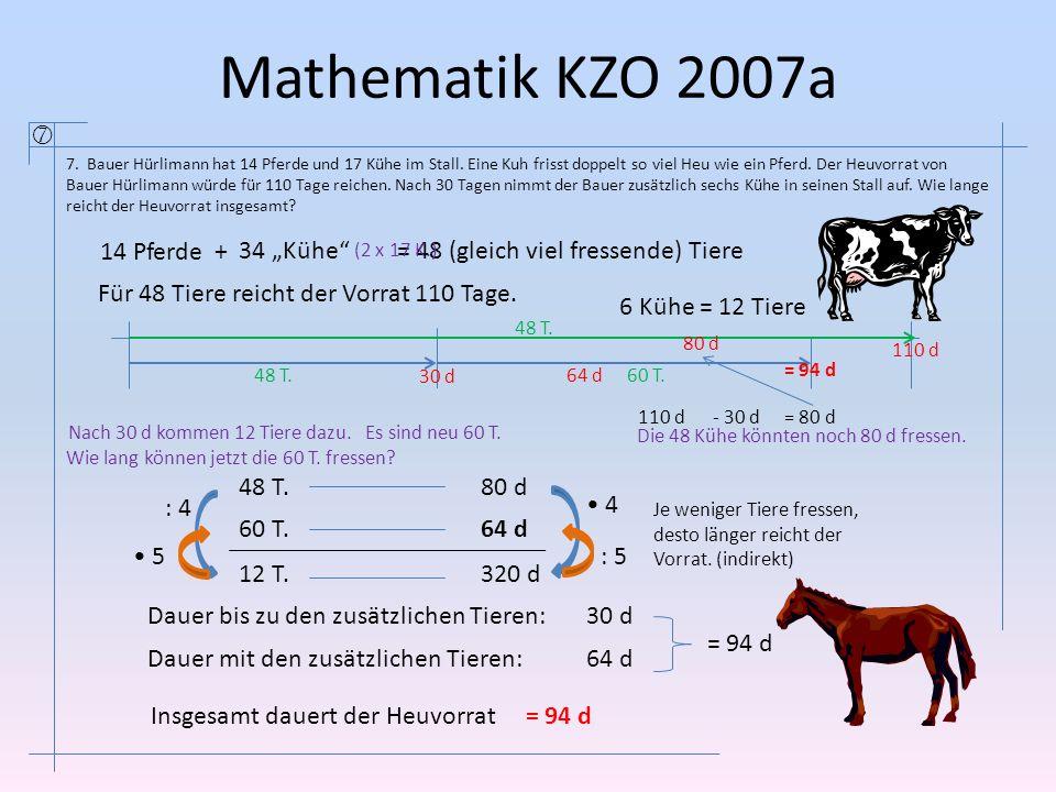 Mathematik KZO 2007a  7. Bauer Hürlimann hat 14 Pferde und 17 Kühe im Stall. Eine Kuh frisst doppelt so viel Heu wie ein Pferd. Der Heuvorrat von Bau