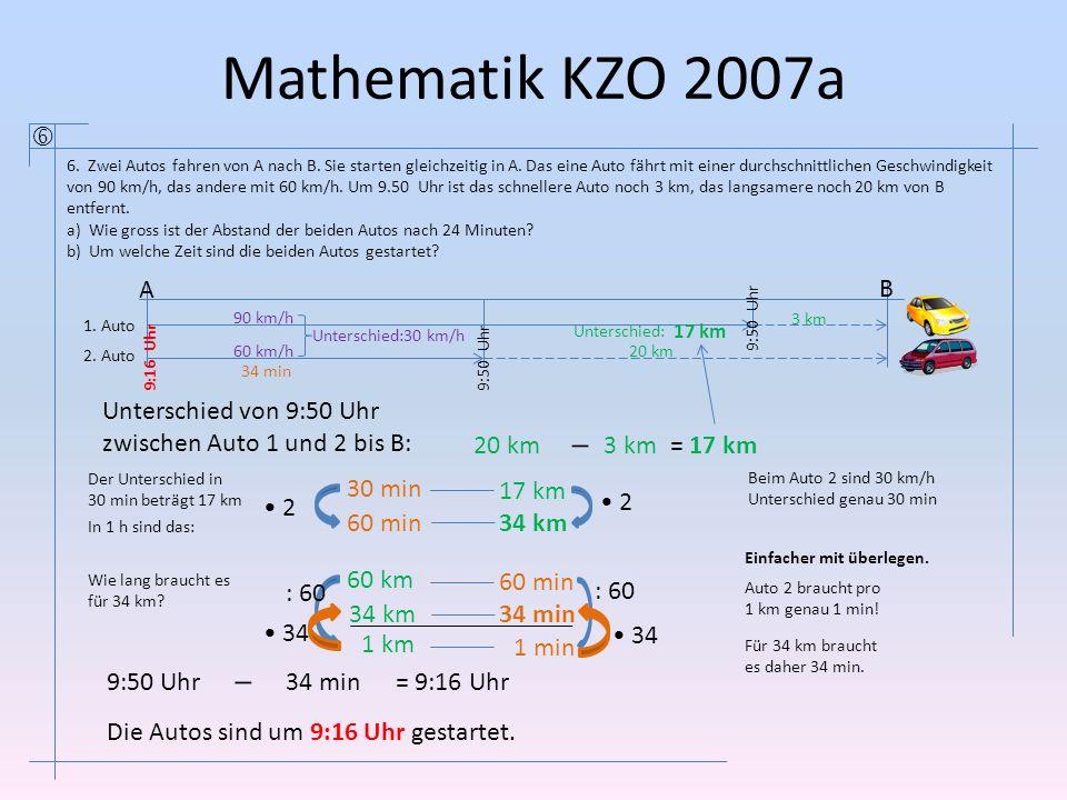 Mathematik KZO 2007a  6. Zwei Autos fahren von A nach B. Sie starten gleichzeitig in A. Das eine Auto fährt mit einer durchschnittlichen Geschwindigk