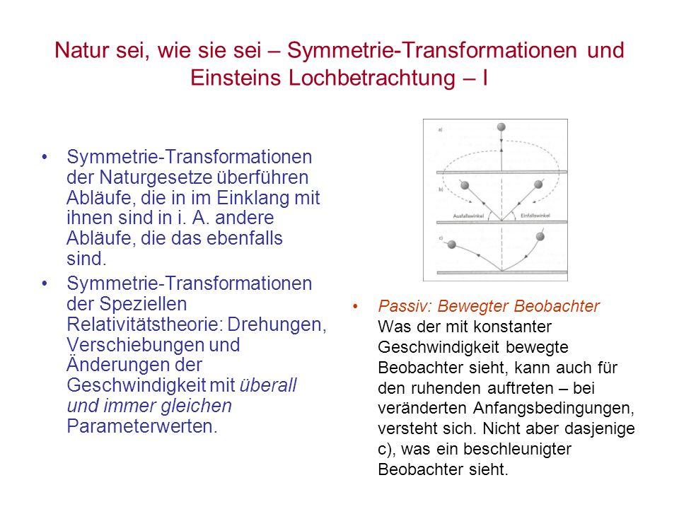Natur sei, wie sie sei – Symmetrie-Transformationen und Einsteins Lochbetrachtung – I Symmetrie-Transformationen der Naturgesetze überführen Abläufe,