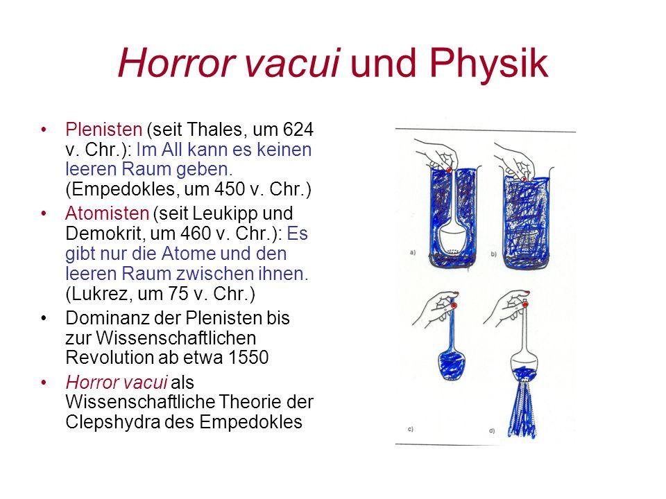 Horror vacui und Physik Plenisten (seit Thales, um 624 v. Chr.): Im All kann es keinen leeren Raum geben. (Empedokles, um 450 v. Chr.) Atomisten (seit