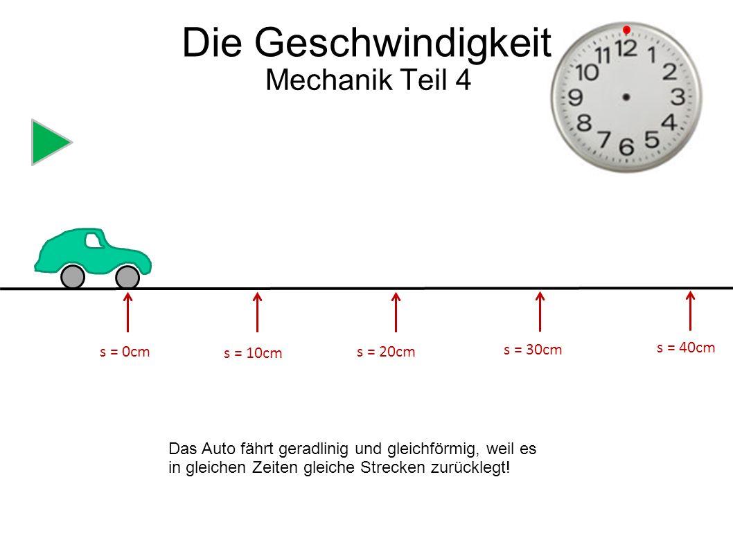 s = 0cm s = 5cm s = 10cm s = 15cm s = 20cm s0 cm5 cm10 cm15 cm20 cm t0s 2s4s 6s 8s Die Geschwindigkeit Mechanik Teil 4 Die Luftblase bewegt sich auch geradlinig und gleichförmig, nur viel langsamer!