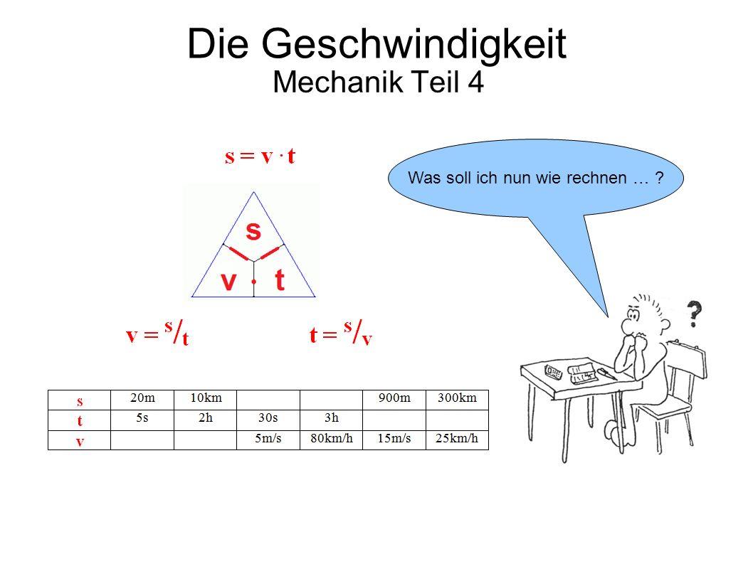 Die Geschwindigkeit Mechanik Teil 4 Was soll ich nun wie rechnen … ?