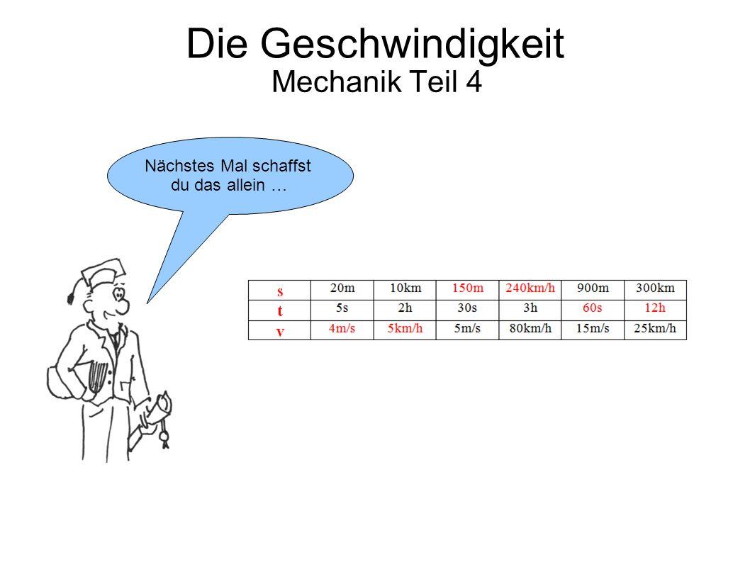 Die Geschwindigkeit Mechanik Teil 4 Bis dahin …Tschüss!