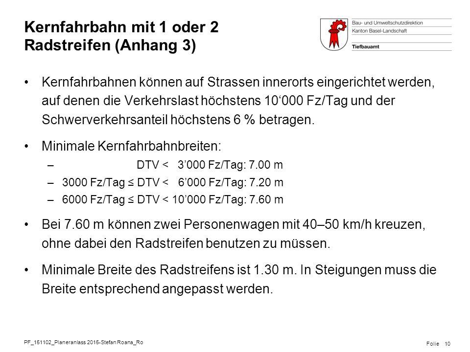PF_151102_Planeranlass 2015-Stefan Roana_Ro Folie Kernfahrbahn mit 1 oder 2 Radstreifen (Anhang 3) Kernfahrbahnen können auf Strassen innerorts einger
