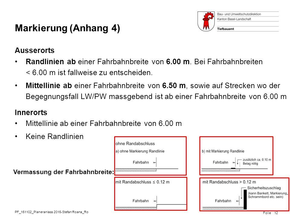 PF_151102_Planeranlass 2015-Stefan Roana_Ro Folie Markierung (Anhang 4) Ausserorts Randlinien ab einer Fahrbahnbreite von 6.00 m. Bei Fahrbahnbreiten