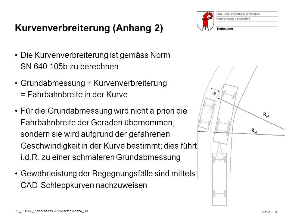 PF_151102_Planeranlass 2015-Stefan Roana_Ro Folie Kurvenverbreiterung (Anhang 2) Die Kurvenverbreiterung ist gemäss Norm SN 640 105b zu berechnen Grun