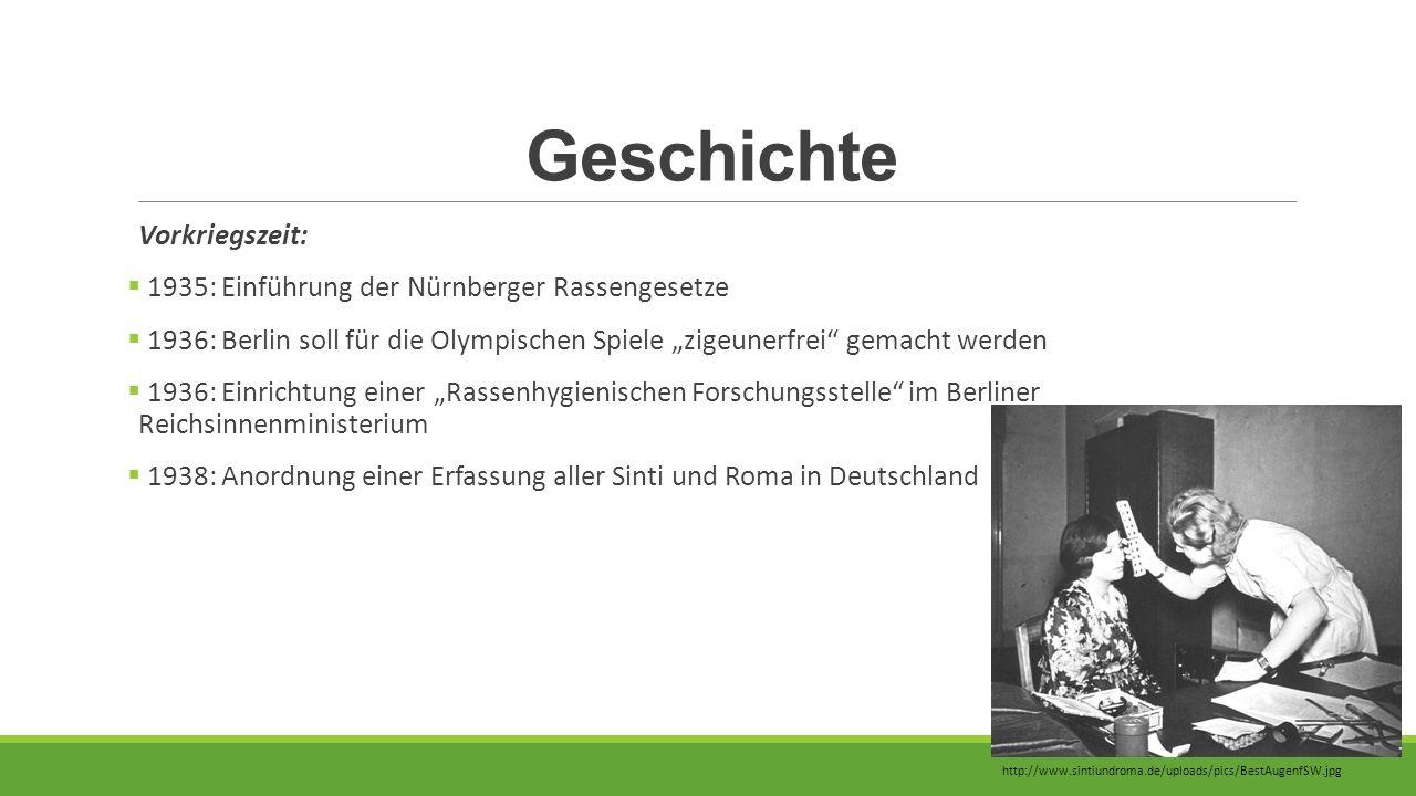 """Geschichte Vorkriegszeit:  1935: Einführung der Nürnberger Rassengesetze  1936: Berlin soll für die Olympischen Spiele """"zigeunerfrei"""" gemacht werden"""
