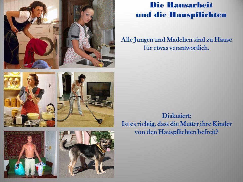 Die Hausarbeit und die Hauspflichten Alle Jungen und Mädchen sind zu Hause für etwas verantwortlich.