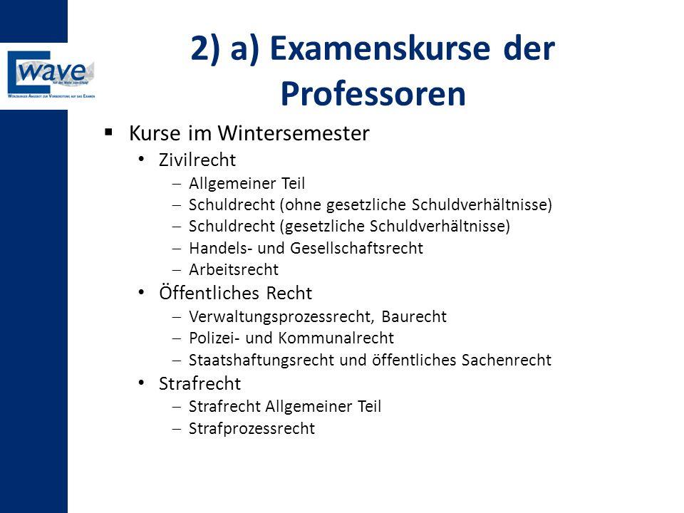 2) a) Examenskurse der Professoren  Kurse im Wintersemester Zivilrecht  Allgemeiner Teil  Schuldrecht (ohne gesetzliche Schuldverhältnisse)  Schul