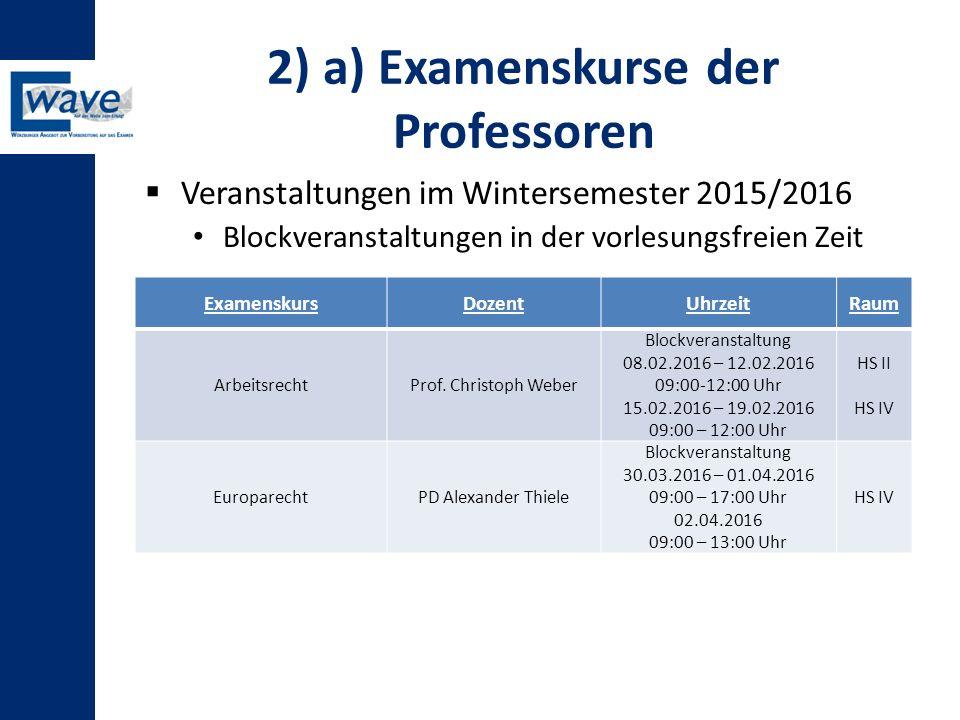 2) a) Examenskurse der Professoren  Veranstaltungen im Wintersemester 2015/2016 Blockveranstaltungen in der vorlesungsfreien Zeit ExamenskursDozentUh