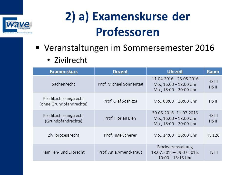 2) a) Examenskurse der Professoren  Veranstaltungen im Sommersemester 2016 Zivilrecht ExamenskursDozentUhrzeitRaum SachenrechtProf. Michael Sonnentag