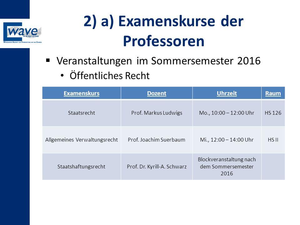 2) a) Examenskurse der Professoren  Veranstaltungen im Sommersemester 2016 Öffentliches Recht ExamenskursDozentUhrzeitRaum StaatsrechtProf. Markus Lu