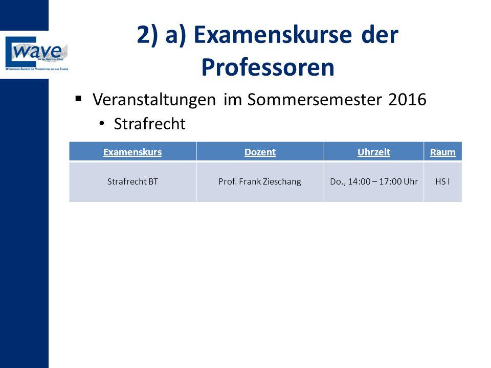 2) a) Examenskurse der Professoren  Veranstaltungen im Sommersemester 2016 Strafrecht ExamenskursDozentUhrzeitRaum Strafrecht BTProf. Frank Zieschang