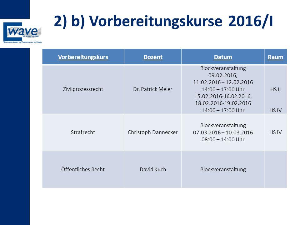 2) b) Vorbereitungskurse 2016/I VorbereitungskursDozentDatumRaum ZivilprozessrechtDr. Patrick Meier Blockveranstaltung 09.02.2016, 11.02.2016 – 12.02.
