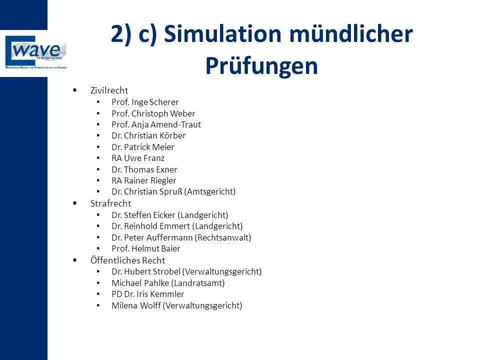 2) c) Simulation mündlicher Prüfungen  Zivilrecht Prof. Inge Scherer Prof. Christoph Weber Prof. Anja Amend-Traut Dr. Christian Körber Dr. Patrick Me
