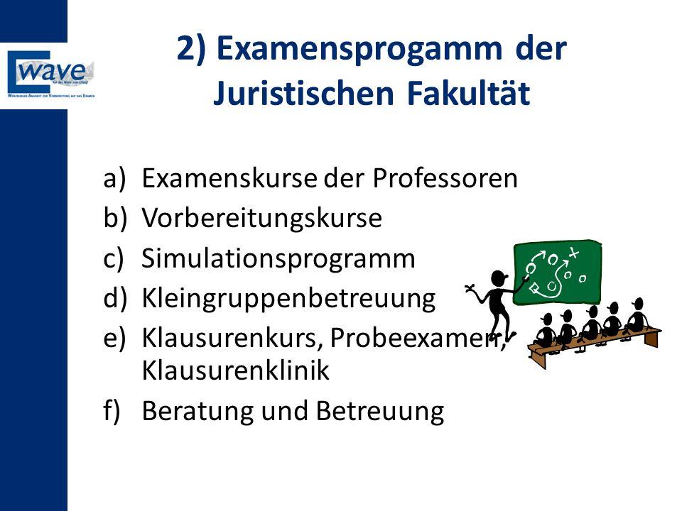 2) Examensprogamm der Juristischen Fakultät a)Examenskurse der Professoren b)Vorbereitungskurse c)Simulationsprogramm d)Kleingruppenbetreuung e)Klausu